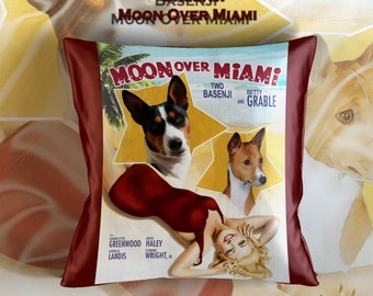 Basenji Art Pillow    Moon Over Miami Movie Poster   by Nobility Dogs