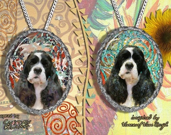 American Cocker Spaniel Jewelry Pendant - Brooch Handcrafted Porcelain by Nobility Dogs - Gustav Klimt and Van Gogh Style