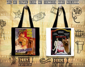 Yorkshire Terrier Dog Print Tote Bag inspired by Movie Poster Casablanca and Some Like It Hot Gift for Her by Nobility Dogs