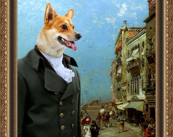 Welsh Corgi Pembroke Art Canvas Print Dog Lover Christmas Gift by Nobility Dogs