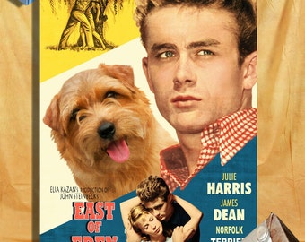 Norfolk Terrier Art Vintage Movie Style Poster Canvas Print - East Of Eden  Perfect DOG LOVER GIFT Gift for Her Gift for Him Home Decor