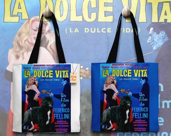 Portuguese Water Dog Art Tote Bag La Dolce Vita Movie Poster    by Nobility Dogs