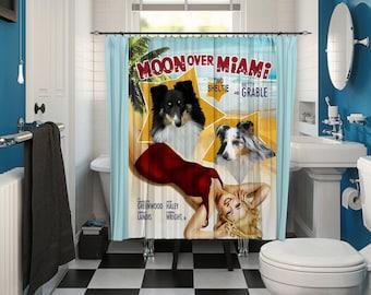 Shetland Sheepdog Art Shower Curtain, Dog Shower Curtains, Bathroom Decor - Moon Over Miami Movie Poster