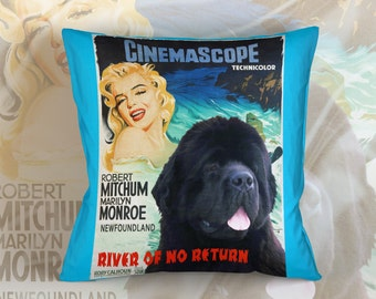 Newfoundland Art Pillow River of No Return Movie Poster   by Nobility Dogs