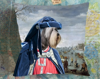 Christmas Gifts Bearded Collie Art Pillow    Dog Lover  by Nobility Dogs Arts