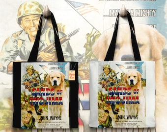 Golden Retriever Art Tote Bag   Sands of Iwo Jima Movie Poster    by Nobility Dogs