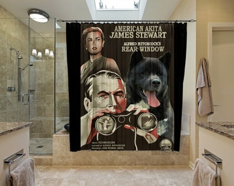American Akita Art Shower Curtain, Dog Shower Curtains, Bathroom Decor - REAR WINDOW Movie Poster