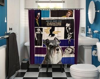 Miniature Schnauzer Art Shower Curtain, Dog Shower Curtains, Bathroom Decor   The Man with the Golden Arm Movie Poster
