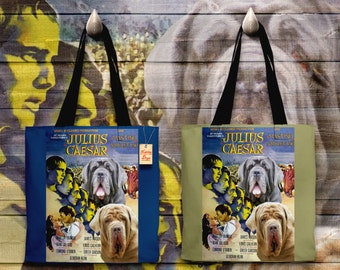 Neapolitan Mastiff Art Tote Bag - Julius Caesar Movie Poster   Perfect DOG LOVER Gift for Her Gift for Him