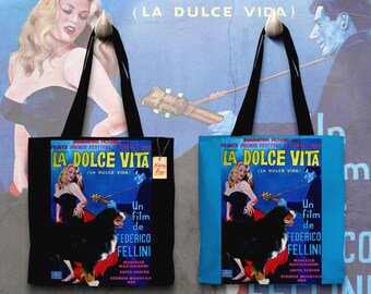 Bernese Mountain Dog Art Tote Bag   La Dolce Vita Movie Poster by Nobility Dogs
