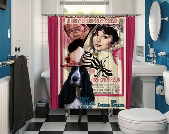 English Cocker Spaniel Art Shower Curtain, Dog Shower Curtains, Bathroom Decor   My Fair Lady Movie Poster