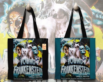Chinese Crested Dog Art Tote Bag   Young Frankenstein Movie Poster  by Nobility Dogs
