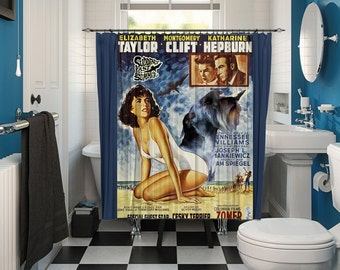Cesky Terrier Art Shower Curtain, Dog Shower Curtains, Bathroom Decor -Suddenly Last Summer Movie Poster