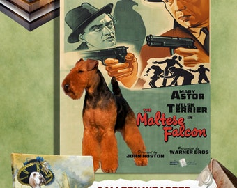 Welsh Terrier  Vintage Canvas Print   The Maltese Falcon Movie Poster Perfect DOG LOVER GIFT Gift for Her Gift for Him Home Decor
