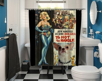 Chihuahua Art Shower Curtain, Dog Shower Curtains, Bathroom Decor - Too Hot to Handle Movie Poster