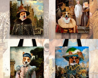 Christmas Gifts Corgi Art Tote Bag  Welsh Corgi Pembroke Gifts for Her by Nobility Dogs Arts