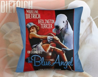 Bedlington Terrier Art Pillow    The Blue Angel Movie Poster   by Nobility Dogs