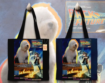Old English Sheepdog Art Tote Bag - Back to the Future Movie Poster   Perfect DOG LOVER Gift for Her Gift for Him