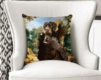 Christmas Gifts Wirehaired Pointing Griffon Korthals Pointing Griffon Art Pillow   Dog Lover  by Nobility Dogs Arts