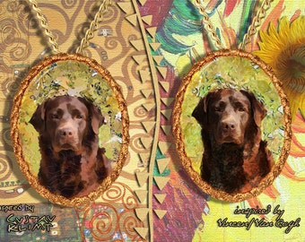 Labrador Retriever Jewelry Pendant   Brooch Handcrafted Porcelain by Nobility Dogs   Gustav Klimt and Van Gogh
