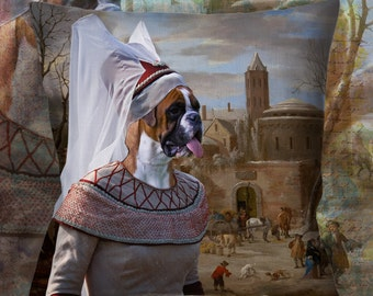 Christmas Gifts Boxer Dog Pillow Portrait Dog Lover  by Nobility Dogs Arts