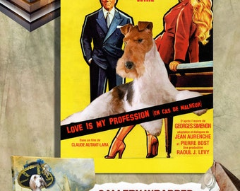 Love Is My Profession Wire Fox Terrier Art Brigitte Bardot Movie Poster Wall Art Fox Terrier Dog Custom Pet Portrait from Photo Movie Quote