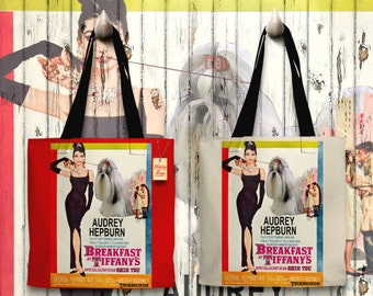 Shih Tzu Art Tote Bag   Breakfast at Tiffany's Movie Poster    by Nobility Dogs