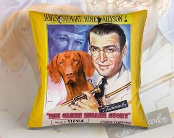 Vizsla Art Pillow    The Glenn Miller Story Movie Poster   by Nobility Dogs