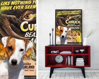 Parson Russell Terrier Print Vintage Art Poster Canvas Print  - Curucu  Perfect DOG LOVER GIFT Gift for Her Gift for Him Home Decor
