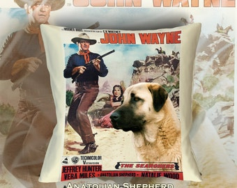 Anatolian Shepherd Art Pillow    The Searchers Movie Poster   by Nobility Dogs