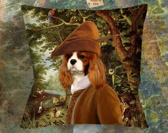 Christmas Gifts Cavalier King Charles Spaniel Art Pillow   Dog Lover  by Nobility Dogs Arts