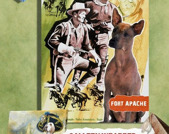 Peruvian Hairless Dog Vintage Art Poster Canvas Print - Fort Apache Movie Poster Perfect DOG LOVER GIFT Gift for Her Gift for Him