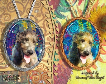 Irish Wolfhound Jewelry Pendant - Brooch Handcrafted Porcelain by Nobility Dogs - Gustav Klimt and Van Gogh