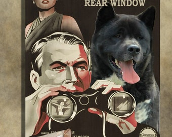 American Akita Vintage Movie Style Poster Canvas Print  - Rear Window   Perfect DOG LOVER GIFT Gift for Her Gift for Him Home Decor