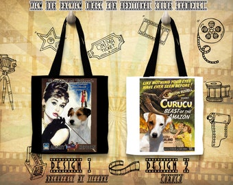 Parson Russell Terrier Tote Bag Movie Poster Breakfast at Tiffany Curucu by Nobility Dogs