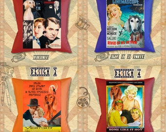 Saluki Art Pillow Saluki Dog Gifts inspired by Movie Poster Suspicion, River of No Return, Vertigo and Some Like It Hot by Nobility Dogs