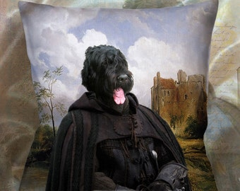 Christmas Gifts Black Russian Terrier Pillow Portrait Dog Lover  by Nobility Dogs Arts