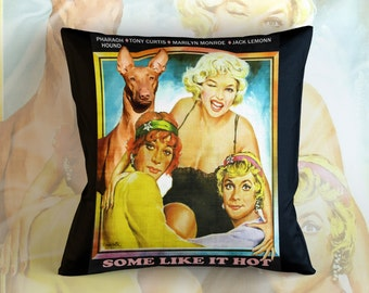 Pharaoh Hound Art Pillow    Some Like It Hot Movie Poster   by Nobility Dogs
