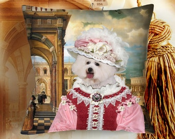Christmas Gifts Bichon Frise Art  Pillow by Nobility Dogs Art