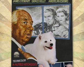American Eskimo Dog Art Gift Rear Window Movie Poster custom dog portrait from photo best selling home decor vintage wall art Eskie Dog