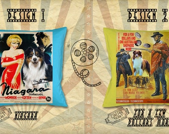 Australian Shepherd Art Pillow Aussie Dog Gifts Portrait inspired by Movie Poster Niagara and For a Few Dollars More by Nobility Dogs