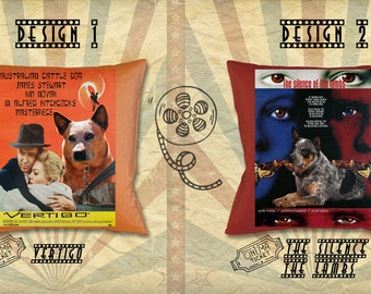 Australian Cattle Dog Art Pillow Heeler Gifts Portrait inspired by Movie Poster Vertigo and The Silence of the Lambs by Nobility Dogs