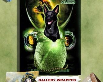 Australian Kelpie Dog Art Alien Vintage Movie Poster Dog Lover Gifts