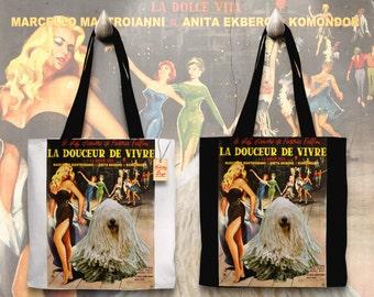 Komondor Art Tote Bag   La Dolce Vita Movie Poster by Nobility Dogs