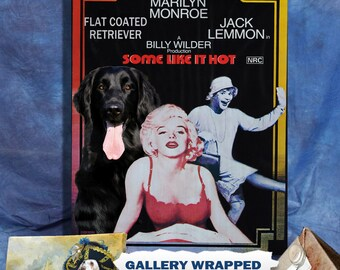 Flat Coated Retriever Print Fine Art Canvas Some Like It Hot Movie Poster