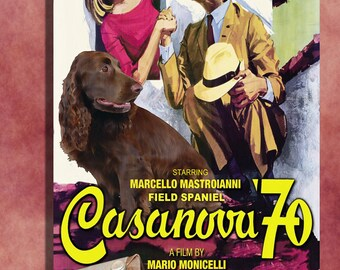 Field Spaniel Vintage Movie Style Poster Canvas Print  - CASANOVA 70    Perfect CHRISTMAS Gift Sale 30 off FREE Shipping