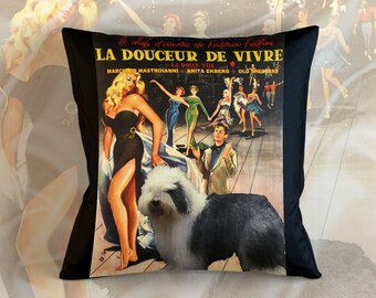 Old English Sheepdog Art Pillow    La Dolce Vita Movie Poster   by Nobility Dogs