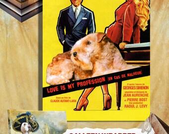 Love Is My Profession Lakeland Terrier Art Brigitte Bardot Movie Poster Wall Art Terrier Dog Custom Pet Portrait from Photo Movie Quote