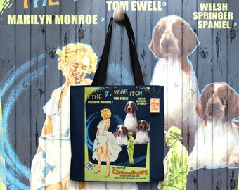 Welsh Springer Spaniel Art Tote Bag   The Seven Year Itch Movie Poster    by Nobility Dogs