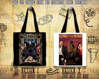 American Cocker Spaniel Tote Bag Cocker Spaniel Portrait Custom Dog Portrait Movie Poster Gone with the Wind The Great Gatsby